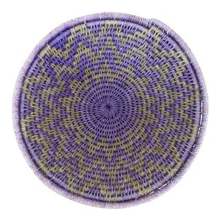 Lavender and Tan Woven Basket For Sale