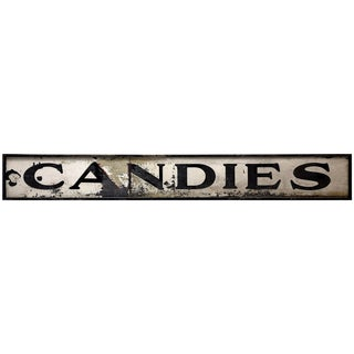 "Antique 1900's Hand-Painted Wood and Metal ""Candies"" Storefront Trade Sign For Sale"