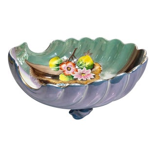 Antique Art Deco Noritake Lusterware Footed Clam Shell Serving Bowl For Sale