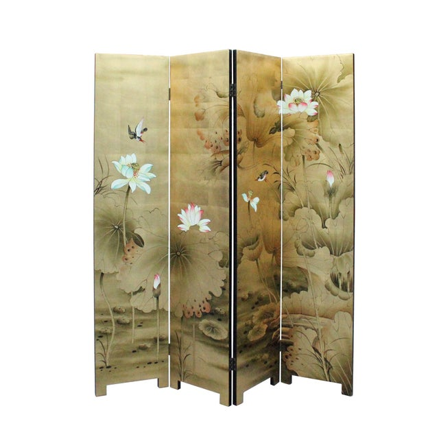 This is a floor screen made of wood and cover with a veneer which is printed with a graphic of plants flowers and birds....