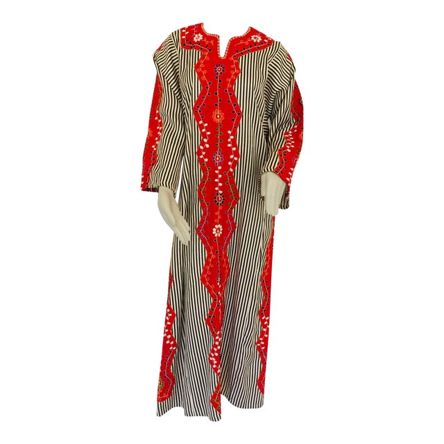 Vintage Middle Eastern Ethnic Caftan, Kaftan Maxi Dress For Sale