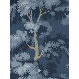 Sample, Scalamandre Raphael, Dark Blue Gold Wallpaper For Sale