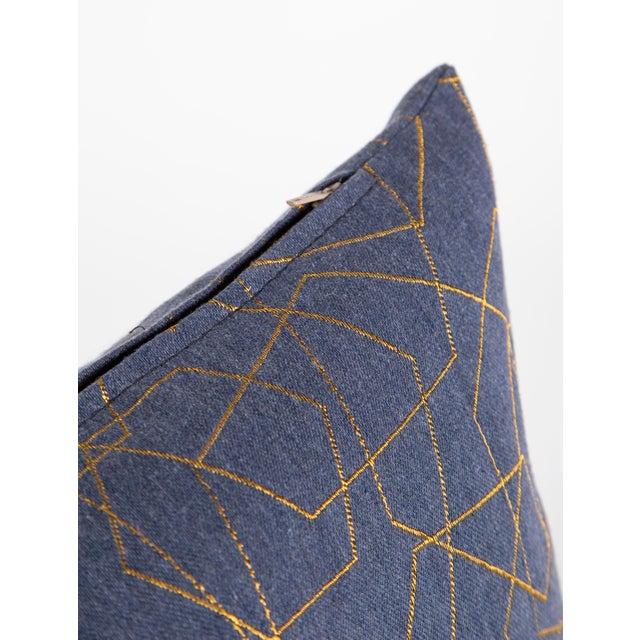 Blue & Gold Hexagons Lumbar Pillow For Sale - Image 4 of 7