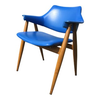 Thonet Pierre Paulin Cobalt Blue Vinyl Arm Chair For Sale