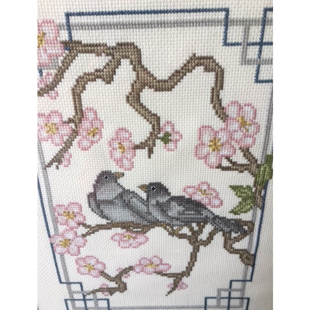 Vintage Asian Needlepoint Birds in Bamboo Frames - a Pair | Chairish