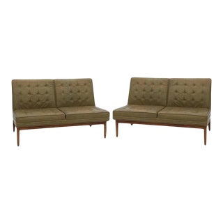 Jens Risom Knoll Tufted Leather Sofas - a Pair For Sale