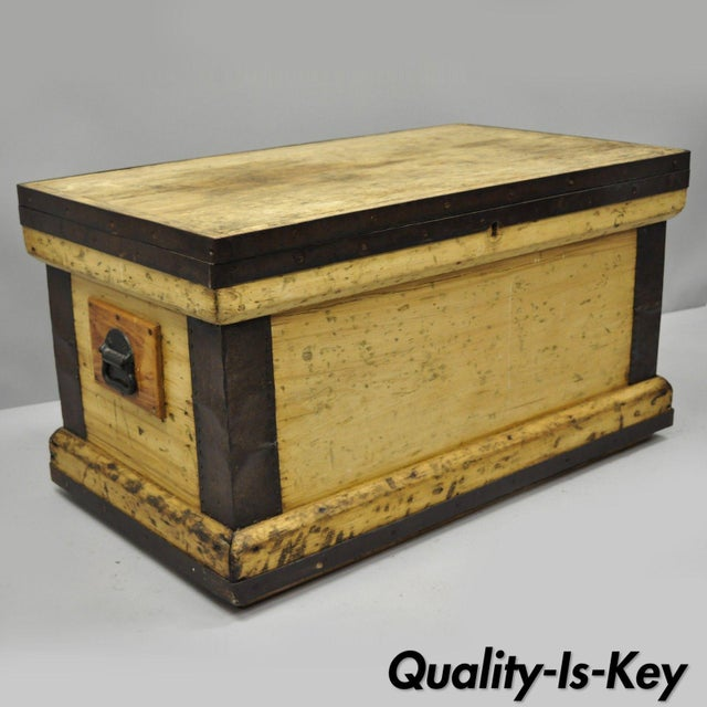 Antique Wood & Cast Iron Primitive Industrial Trunk Blanket Chest or Coffee Table For Sale - Image 13 of 13