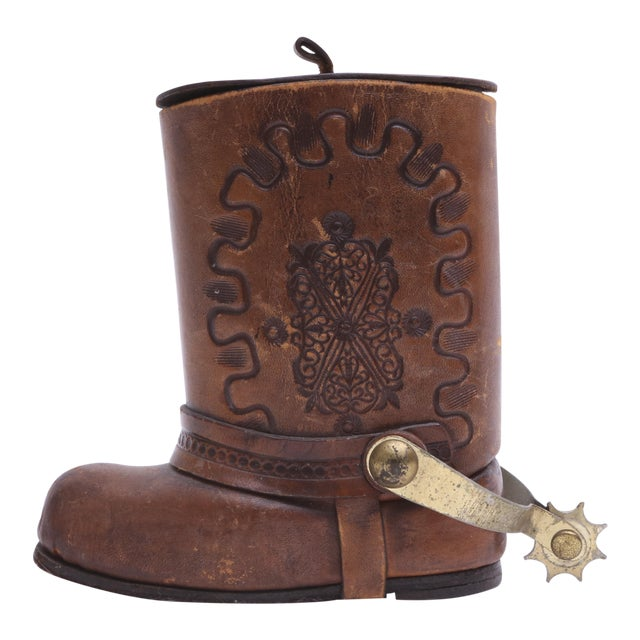 Genuine Leather Cowboy Boot Cigar / Tobacco Canister For Sale