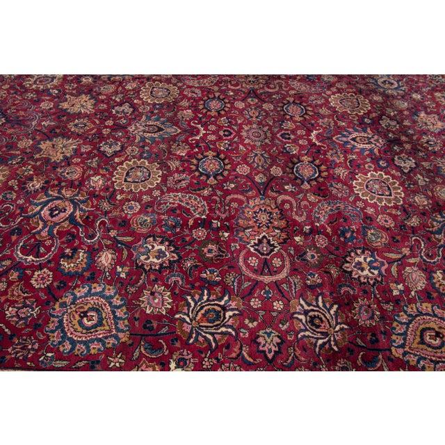 "Apadana - Antique Distressed Persian Mashad Rug, 11'11"" x 15'5"" For Sale - Image 4 of 7"