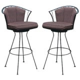 Image of Pair of Vintage Woodard Wrought Iron Stools For Sale