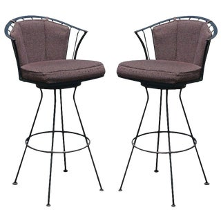 Pair of Vintage Woodard Wrought Iron Stools For Sale