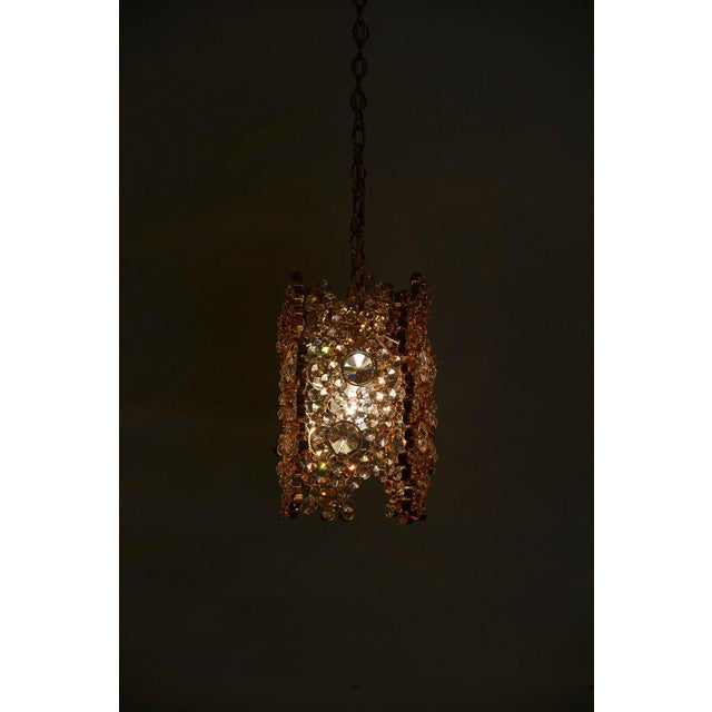 Brass One of Three Palwa Gilded Brass and Crystal Glass Encrusted Pendant Lamps For Sale - Image 7 of 11