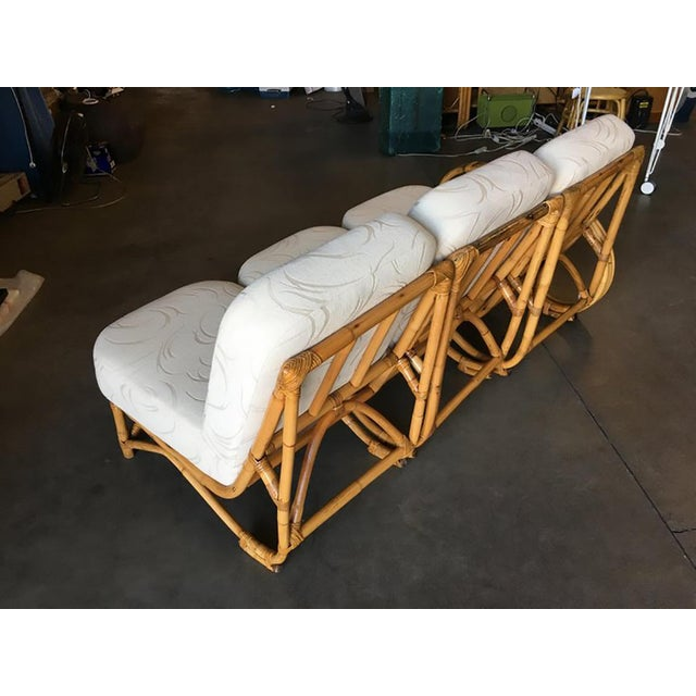 Restored 3/4 Round Pretzel Rattan Three Seater Sofa With Two Tier Table For Sale - Image 9 of 11