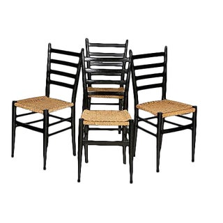 Gio Ponti Attri. Vintage Dining Chairs - Set of 4 For Sale