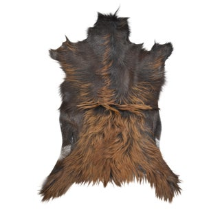 "Handmade Long Hair Goatskin Pelt - 2'3"" x 3'0"""