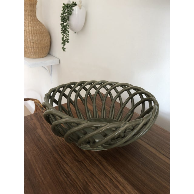 1990s 1990s Ceramic Woven Army Green Bread Basket For Sale - Image 5 of 5