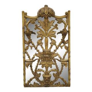 Maitland Smith Italian Regency Style Acanthus Scroll Wall Shelf Mirror For Sale