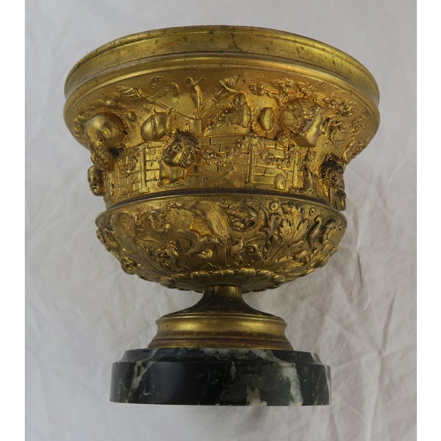 19th C. Bronze Tazza on Marble Base For Sale - Image 4 of 13