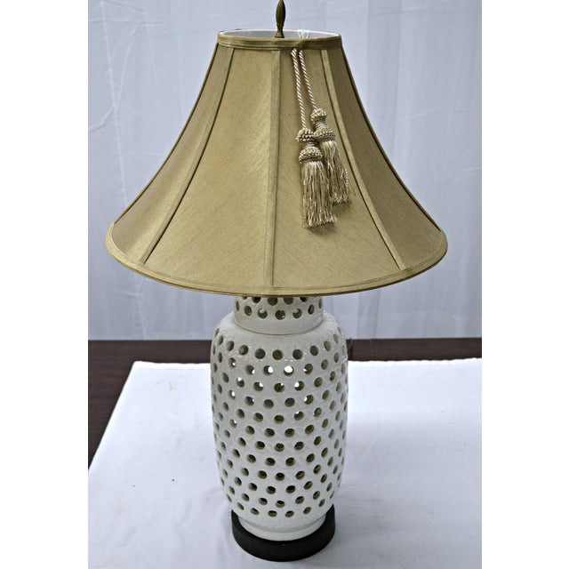 Mid-Century White Perforated Porcelain Table Lamp For Sale - Image 5 of 9