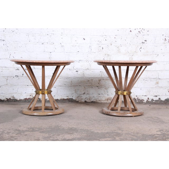 Edward Wormey for Dunbar Style Sheaf of Wheat Marble Top Side Tables, Pair For Sale - Image 12 of 12