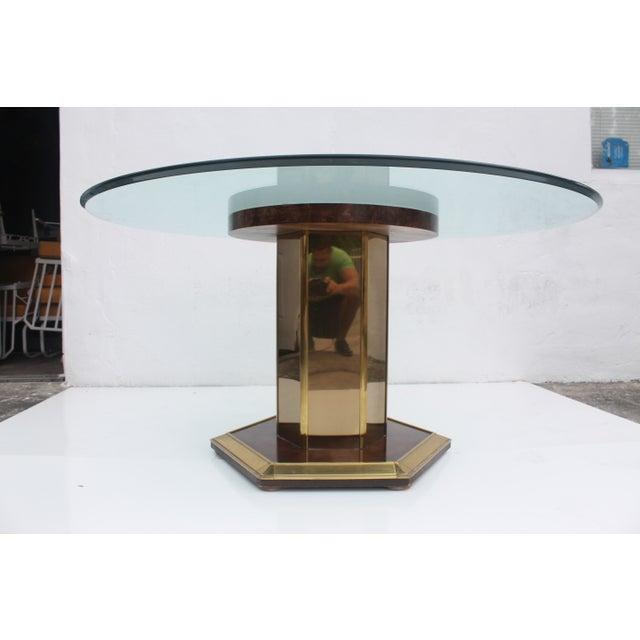 Mastercraft Vintage Burl Wood & Brass Dining Table For Sale - Image 11 of 11