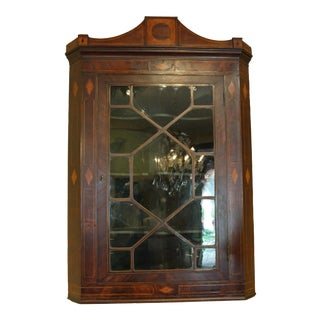 18th Century English Mahogany Hanging Corner Cabinet For Sale