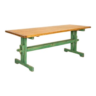 Antique Pine Farm Table With Original Green Painted Trestle Base For Sale