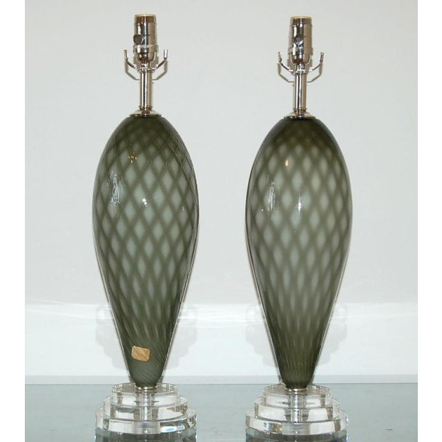 Matched pair of vintage Venetian Murano glass table lamps in a crosshatch design of CHARCOAL and SMOKE. Great optical...