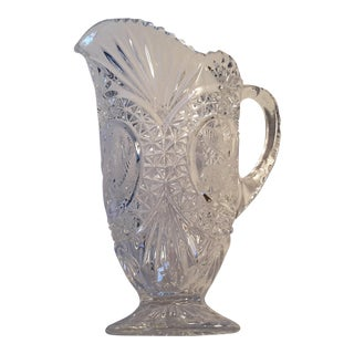Simply Beautiful Etched Bird Motif Clear Cut Glass Footed Pitcher For Sale