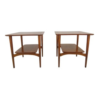 Mid-Century Modern Side Tables With Floating Lower Tier - a Pair For Sale
