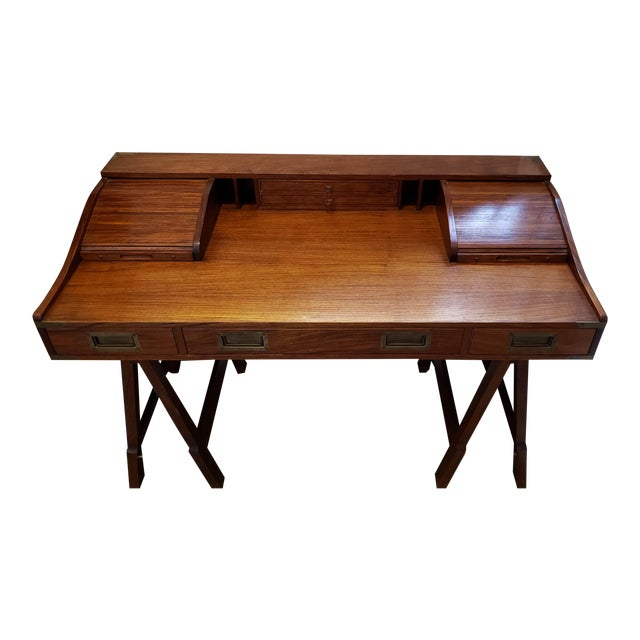 20th Century Campaign Mahogany Writing Desk With Sawhorse Legs For Sale