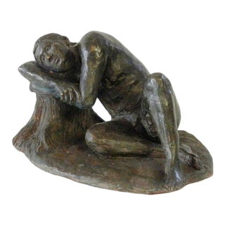 Mid 20th Century Reclining Male Nude Plaster Sculpture For Sale