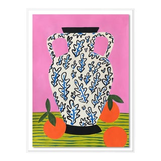 Vase with Oranges by Jelly Chen in White Frame, Small Art Print For Sale
