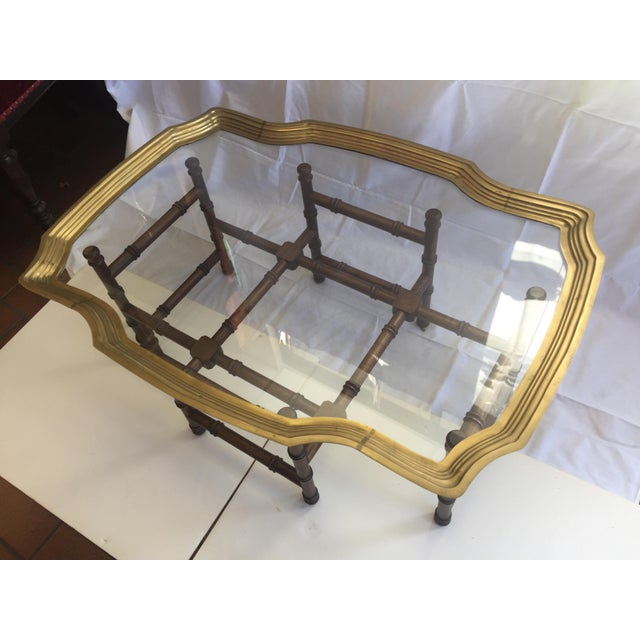Vintage Brass Tray Coffee Table Faux Bamboo Base - Image 4 of 6