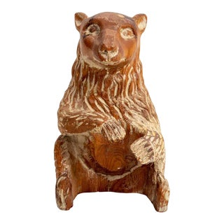 Vintage Sarreid Carved Wood Bear For Sale