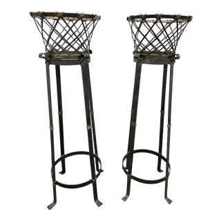 Pair of Maitland Smith Iron and Brass Jardinieres For Sale