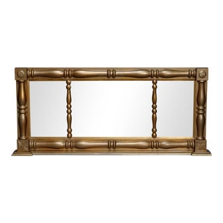 Antique American Empire Triptych Giltwood over Mantel Mirror, circa 1840 For Sale