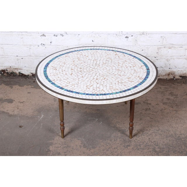 Mid-Century Modern Italian Mid-Century Modern Mosaic Tile and Brass Cocktail Table, 1950s For Sale - Image 3 of 10
