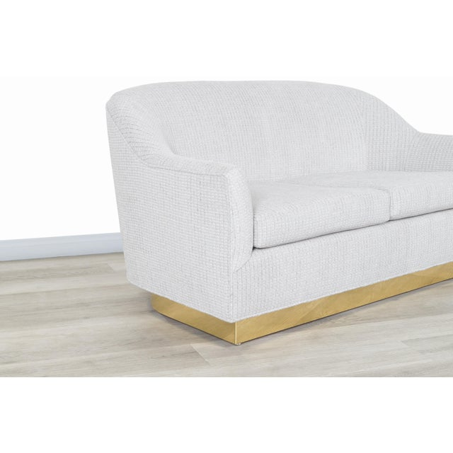Gray Vintage Brass Loveseat by Milo Baughman for Thayer Coggin For Sale - Image 8 of 12