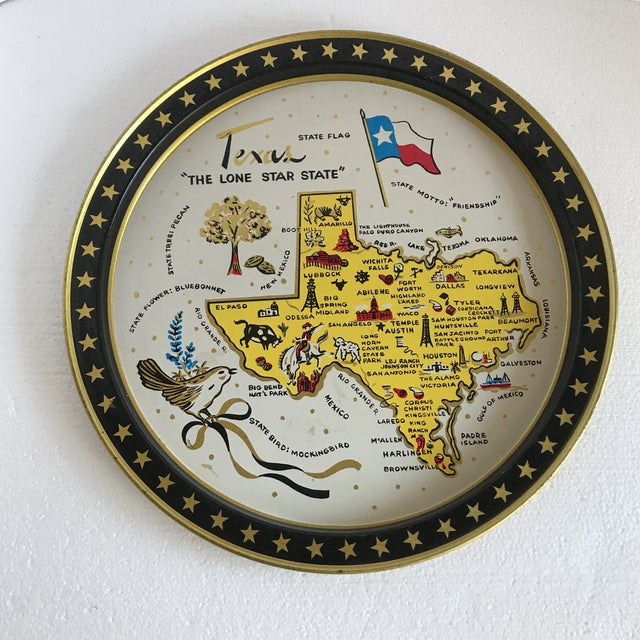 Americana Vintage 1960 Texas Tin Tray For Sale - Image 3 of 9