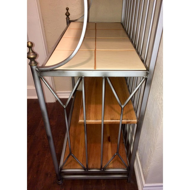 1990s Drexel Solstice Iron Frame Bakers Rack For Sale - Image 5 of 6