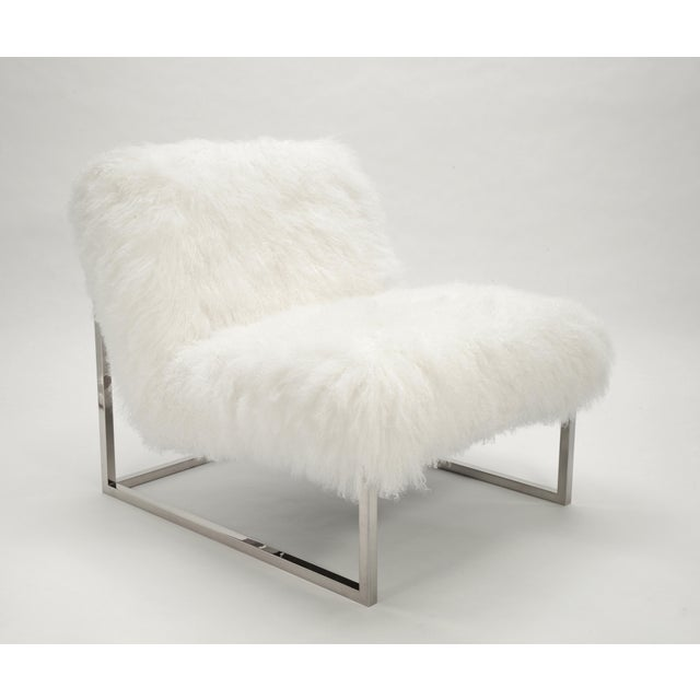 Curly Milly Chair Bright White Made of Tibetan Lamb Please allow 4 weeks before the item ships.