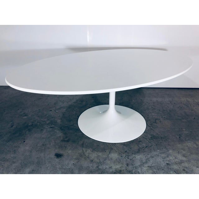"White 42"" Laminate top coffee or cocktail table by Eero Saarinen for Knoll originally designed in 1956. This is a Knoll..."