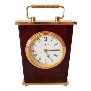 Vintage Howard Miller Rosewood Hall Brass Bracket Tabletop Clock For Sale