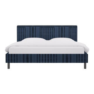 King Tailored Platform Bed in Azul Doro For Sale