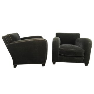 1980s Donghia Art Deco Style Gray Mohair & Down Club / Lounge Chairs - a Pair Preview