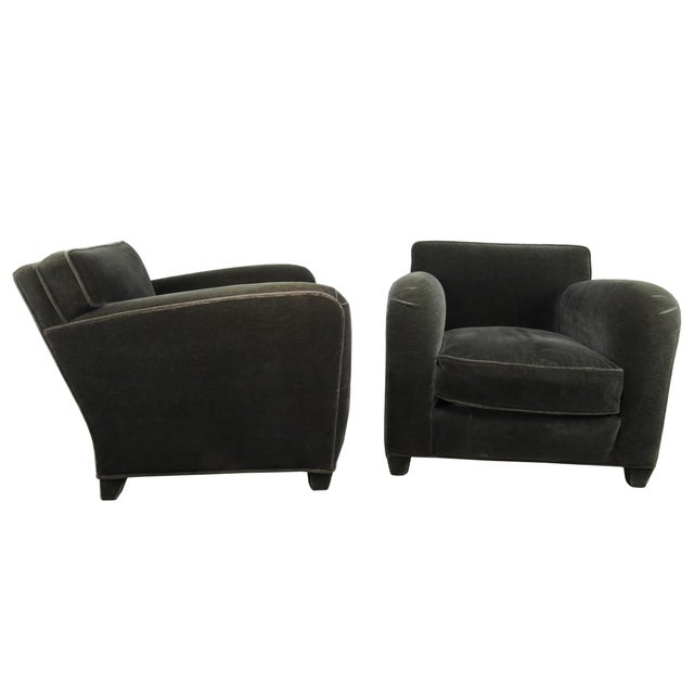 A pair of 1980s Donghia Art Deco style fully upholstered club chairs designed by Angelo Donghia. Donghia quality...