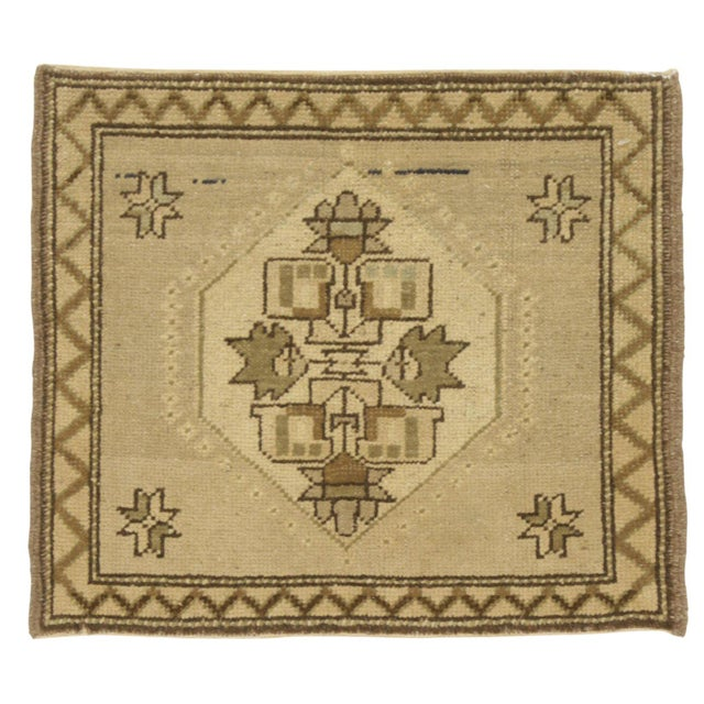 "Traditional Vintage Square Yastik Rug - 1'6"" X 1'9"" For Sale - Image 3 of 3"