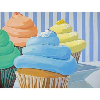 Four Cupcakes' Large Painting by Modern Expressionist George Brinner For Sale
