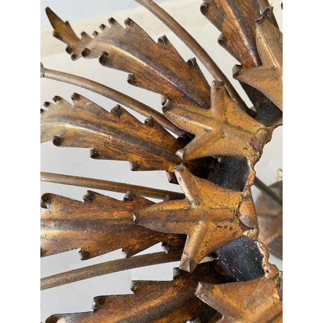 Hollywood Regency Spanish Gilt Metal Sunburst Leaves Flush Mount For Sale - Image 3 of 6